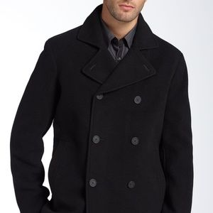 Black Kenneth Cole Reaction Wool Pea Coat
